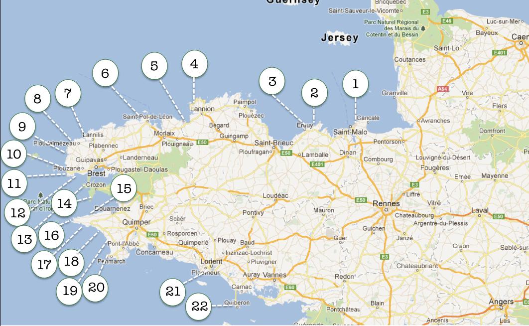Overzicht Bretagne surfen