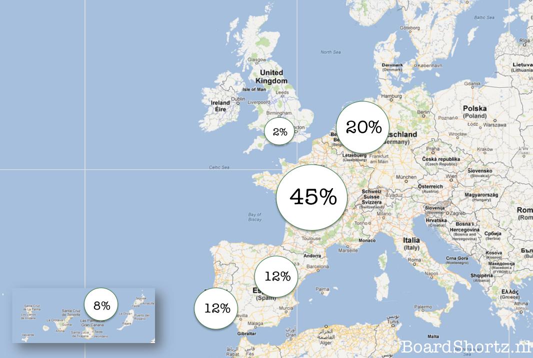 Waar surfen Nederlanders in Europa